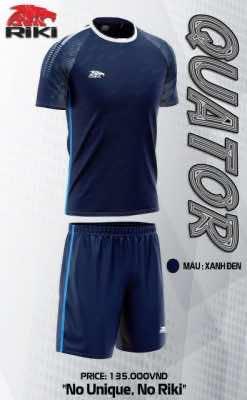 Áo bóng đá không logo cao cấp RIKI SNAKER màu Xanh Đen