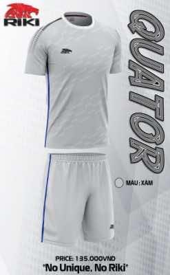 Áo bóng đá không logo cao cấp RIKI QUATOR màu Xám