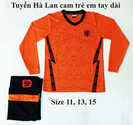 Quần áo bóng đá Trẻ Em Tay Dài Đội Tuyển Hà Lan Màu Cam