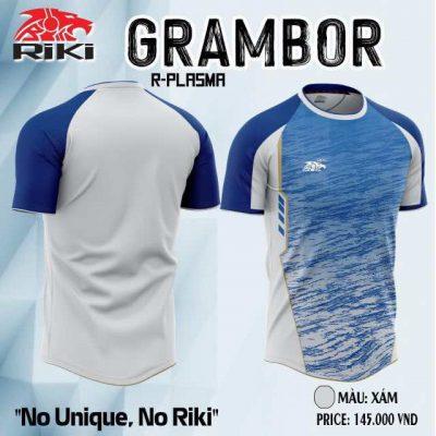 Áo bóng đá không logo cao cấp RIKI GRAMBOR màu Xám