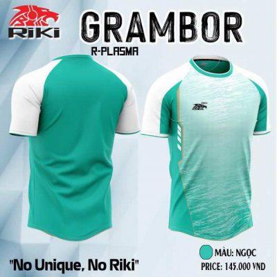 .Áo bóng đá không logo cao cấp RIKI GRAMBOR màu Vàng Xanh Ngọc