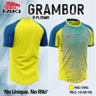 Áo bóng đá không logo thiết kế cao cấp RIKI GRAMBOR màu Vàng