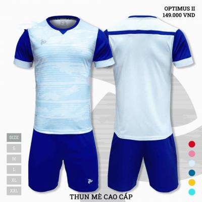 Quần áo bóng đá không logo thiết kế Just Play Optimus II màu xanh da