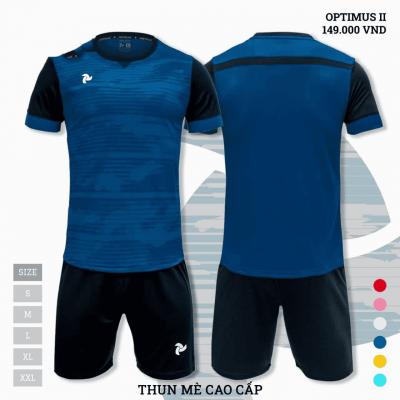 Quần áo bóng đá không logo thiết kế Just Play Optimus II xanh cổ vịt