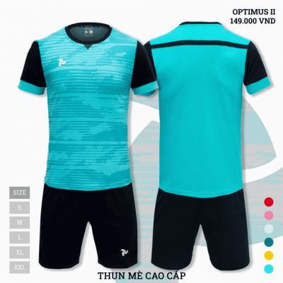 Quần áo bóng đá không logo thiết kế Just Play Optimus II màu xanh ngọc