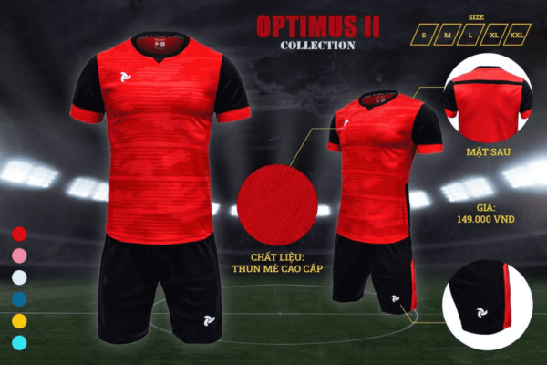 Bộ quần áo bóng đá không logo Optimus II màu đỏ