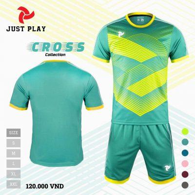 Áo bóng đá không logo Cross màu xanh lý