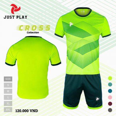 Áo bóng đá không logo Cross màu xanh dạ quang