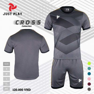 Áo bóng đá không logo Cross màu đen