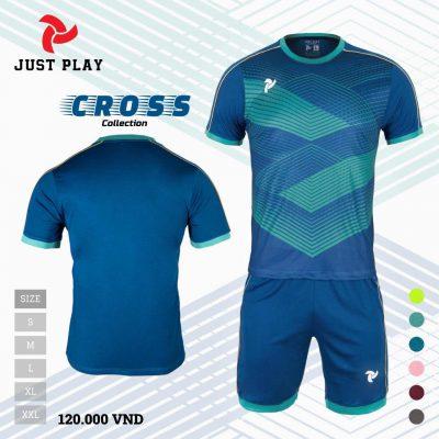 Áo bóng đá không logo Cross màu xanh cổ vịt