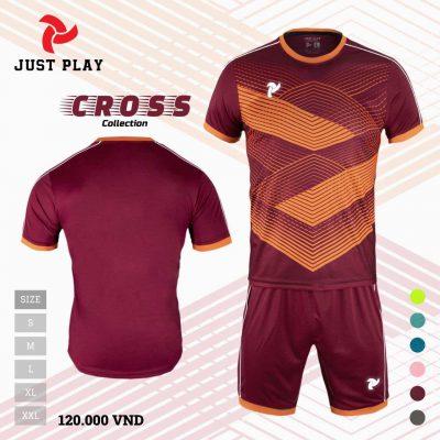 Áo bóng đá không logo Cross màu đỏ đô