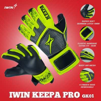 Găng tay thủ môn Iwin Keepa Pro GK01 màu Xanh Dạ Quang