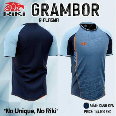 Áo bóng đá không logo cao cấp RIKI GRAMBOR màu Xanh Đen