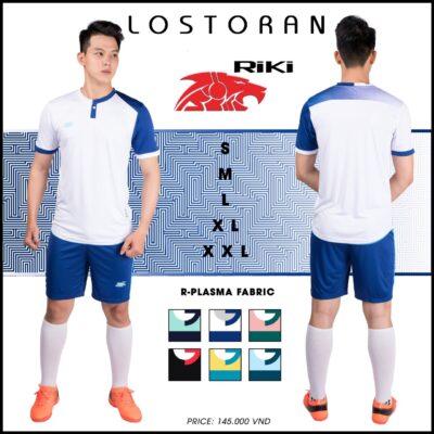 Áo bóng đá không logo Riki - LOSTORAN thun lạnh cao cấp màu trắng