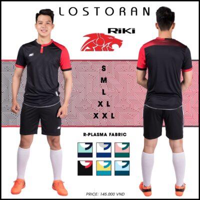 Áo bóng đá không logo Riki - LOSTORAN thun lạnh cao cấp màu đen