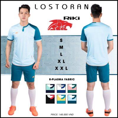 Áo bóng đá không logo Riki - LOSTORAN thun lạnh cao cấp màu xanh da
