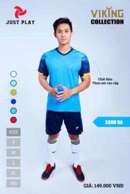 Áo bóng đá không logo thiết kế JP VIKING vải mè cao cấp màu xanh da