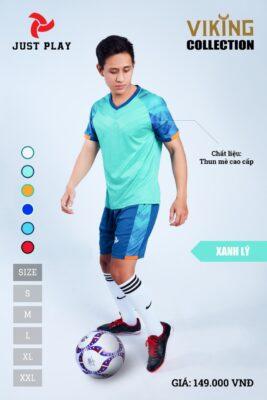Áo bóng đá không logo thiết kế JP VIKING vải mè cao cấp màu xanh ngọc
