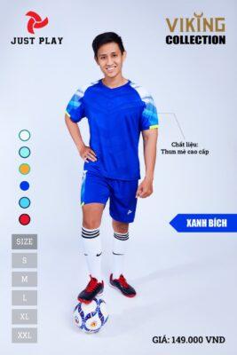 Áo bóng đá không logo thiết kế JP VIKING vải mè cao cấp màu xanh bích