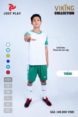 Áo bóng đá không logo thiết kế JP VIKING vải mè cao cấp màu trắng