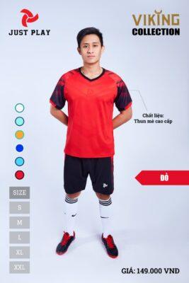 Áo bóng đá không logo thiết kế Just Play VIKING vải mè cao cấp màu đỏ