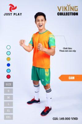 Áo bóng đá không logo thiết kế JP VIKING vải mè cao cấp màu cam