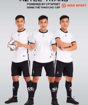 Áo bóng đá không logo cao cấp AZTEC màu Trắng
