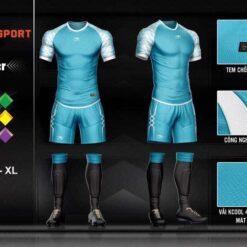 Áo bóng đá không logo cao cấp KEEP & FLY LEITER màu Xanh Da