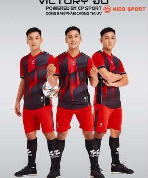 Áo bóng đá không logo cao cấp VICTORY UV EGAN màu Đỏ Đen