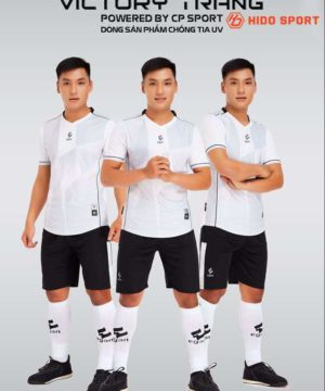 Áo bóng đá không logo cao cấp VICTORY UV EGAN màu Trắng