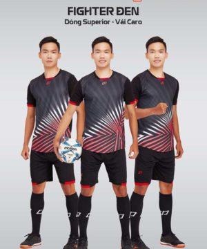 Áo bóng đá không logo thiết kế cao cấp FIGHTER màu Đen
