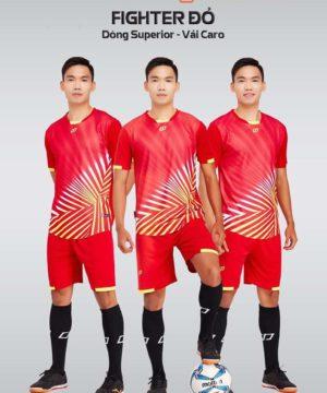 Áo bóng đá không logo thiết kế cao cấp FIGHTER màu Đỏ