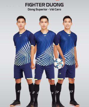 Áo bóng đá không logo thiết kế cao cấp FIGHTER màu Xanh Bích
