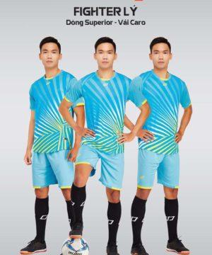 Áo bóng đá không logo thiết kế cao cấp FIGHTER màu Xanh Da