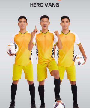 Áo bóng đá không logo thiết kế cao cấp HERO màu Vàng
