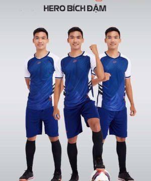 Áo bóng đá không logo thiết kế cao cấp HERO màu Xanh Bích