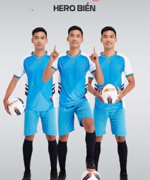 Áo bóng đá không logo thiết kế cao cấp HERO màu Xanh Biển