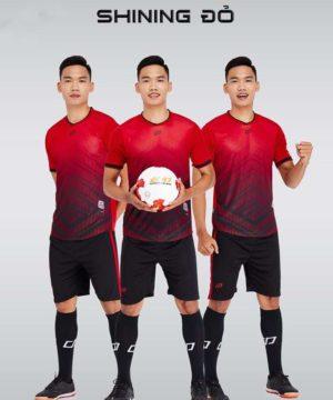 Áo bóng đá không logo thiết kế cao cấp SHINING màu Đỏ
