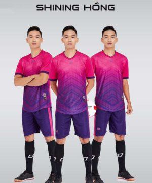 Áo bóng đá không logo thiết kế cao cấp SHINING màu Hồng