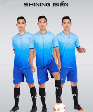 Áo bóng đá không logo thiết kế cao cấp SHINING màu Xanh BIển