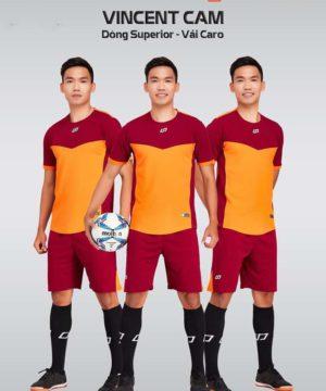Áo bóng đá không logo thiết kế cao cấp VINCENT màu Cam
