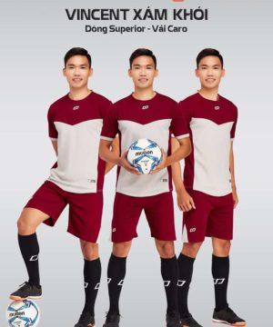 Áo bóng đá không logo thiết kế cao cấp VINCENT màu Xám Khói