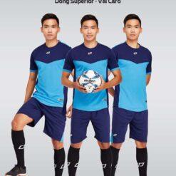 Áo bóng đá không logo thiết kế cao cấp VINCENT màu Xanh Da