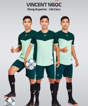 Áo bóng đá không logo thiết kế cao cấp VINCENT màu Xanh Ngọc