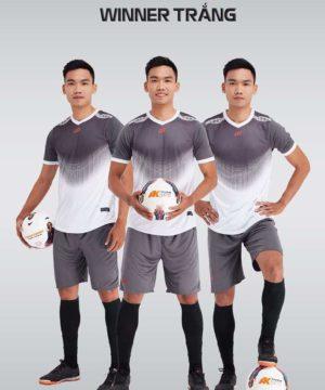Áo bóng đá không logo thiết kế cao cấp WINNER màu Trắng