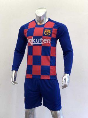 Quần áo bóng đá Tay dài BARCELONA sọc Caro màu Xanh Đỏ mùa giải 19-20