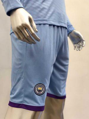Quần áo bóng đá Tay dài Manchester City màu Xanh Da mùa giải 19-20