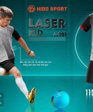 Quần áo bóng đá Trẻ Em không logo BU LASER KID màu Đen mới