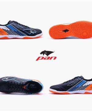 Giày đá banh đế bằng PAN REBELLER Sân cỏ nhân tạo Màu Đen đế Cam mới