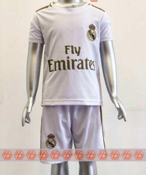 Quần áo bóng đá Trẻ Em Real Madrid màu Trắng mùa giải 19-20